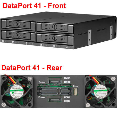 DataPort 41, Complete Assembly (Frame and 4 carriers) for four 2.5in SAS or SATA drive (up to 15mm), 6G, RoHS