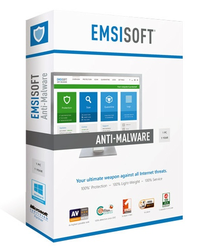 Emsisoft Anti-Malware, 1 Year (3-19)
